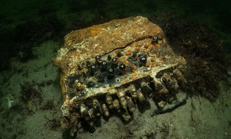 The legendary code machine was discovered during a search for abandoned fishing nets in the Bay of Gelting